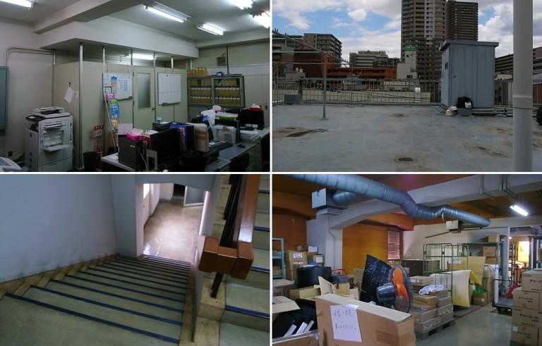 before写真。1階は自社使用オフィス・2階は住居・3階は倉庫として使われていたが、各階約300平米の大きな空間を持て余していた。階段や屋上も経年劣化により暗い印象であった。